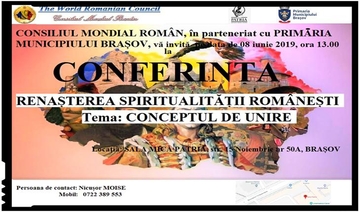 """Conferință la Brașov: """"RENAȘTEREA SPIRITUALITĂȚII ROMÂNEȘTI"""""""