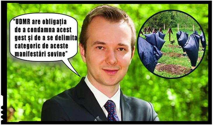 Daniel Gheorghe: Profanarea mormintelor eroilor români de la Valea Uzului este o blasfemie fără margini și un act antiromânesc. UDMR are obligația de a condamna acest gest, Foto: facebook.com/daniel.gheorghe.374549