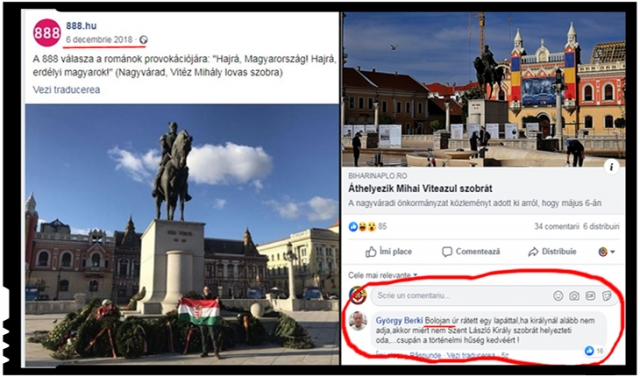 Ilie Bolojan felicitat de unguri pentru îndepărtarea statuii lui Mihai Viteazul din Piața Unirii din Oradea, Foto: facebook