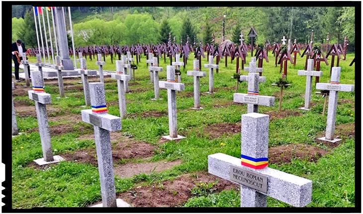 După ce-au scăpat de pungile de gunoi, crucilor eroilor români au fost împodobite și cu tricolorul românesc, Foto: facebook.com/george.simion.unire