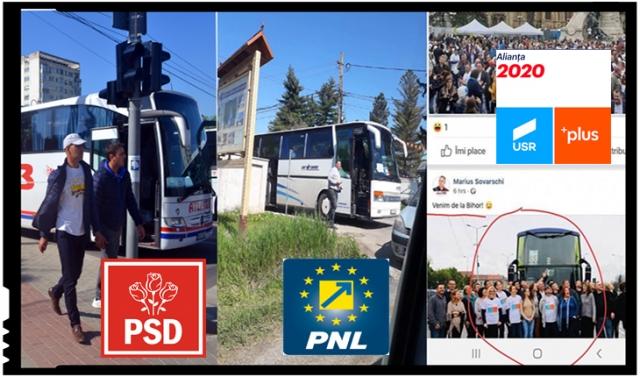 Cine minte, și fură! USR și PNL susțin că doar PSD-ul aduce cu autocarele oameni la mitinguri