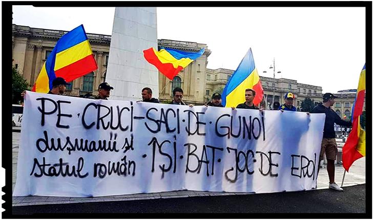 Protest in fața Ministerului Afacerilor Interne pentru 30 de ani de tolerare a antiromânismului agresiv, Foto: facebook.com/stefangabriel.lupu