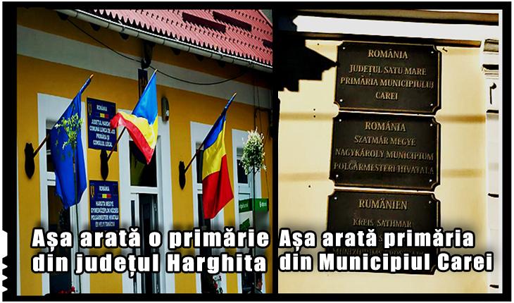 La Carei primarul UDMR a transformat primăria în cimitir: a pus plăcuțe negre în locul celor oficiale cu tricolor!, Foto: BuletindeCarei.ro