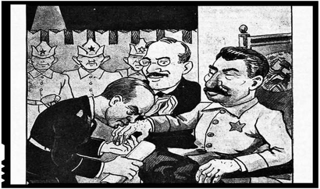 Caricatură poloneză în care Ribbentrop îi pupă mâna lui Stalin în fața lui Molotov care aplaudă