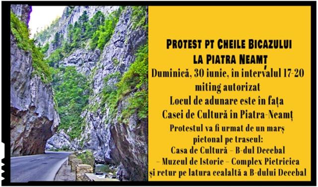 Protest autorizat pentru Cheile Bicazului anunțat la Piatra Neamț