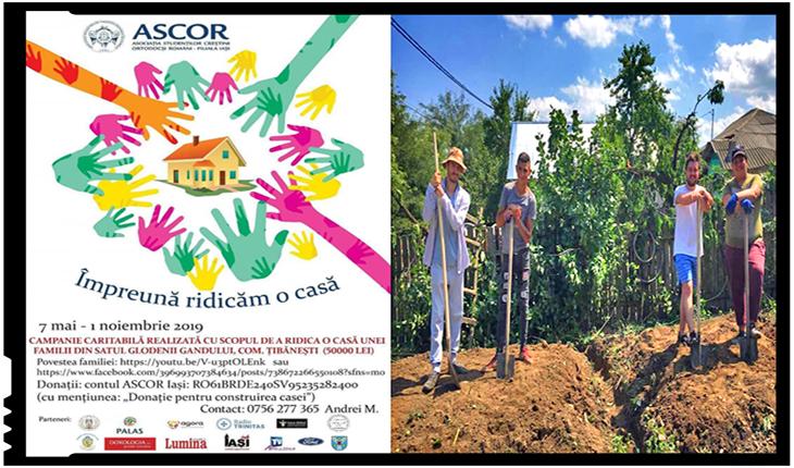Tinerii de la ASCOR Iași construiesc o casă pentru 2 copii rămași fără sprijin, Foto: facebook.com/iasi.ascor