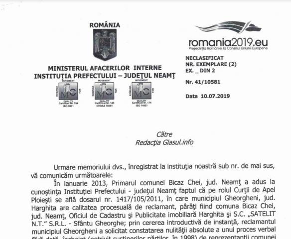 Clarificări din partea prefecturii Neamț privind revendicările celor din jud. Harghita