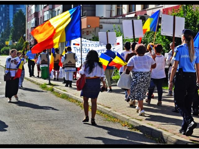 Poeta Mihaela Aionesei din Târgu Secuiesc la protestul pentru Cheile Bicazului de la Piatra Neamț, Foto: Glasul.info