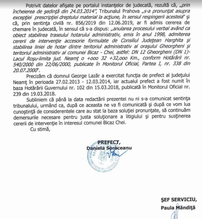 Clarificări din partea prefecturii Neamț privind revendicările celor din jud. Harghita legate de Cheile Bicazului