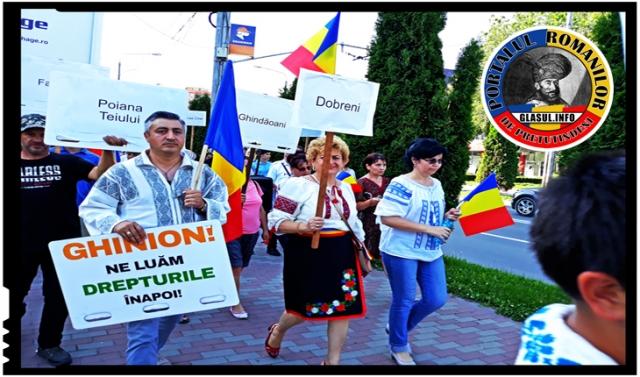 """Marș de protest la Piatra Neamț pentru Cheile Bicazului: s-a cântat """"Treceți batalioane române Carpații"""