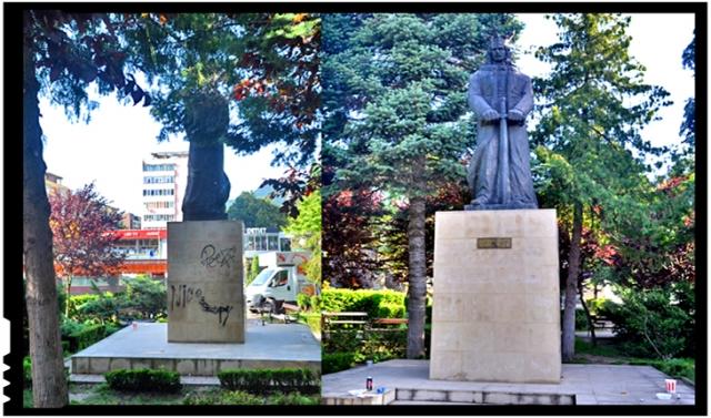 Revoltător! Statuia lui Ștefan cel Mare de la Piatra Neamț vandalizată cu graffiti și plină de gunoaie!