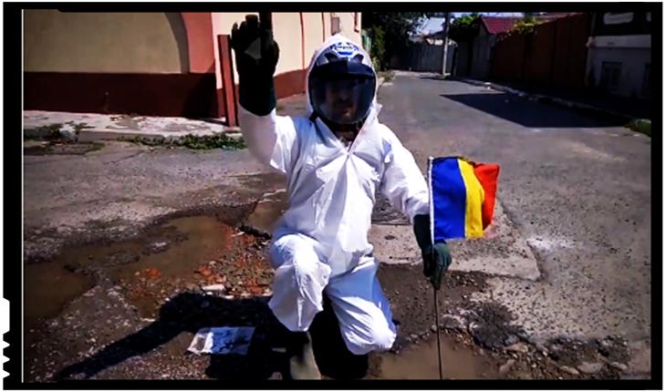 VIDEO: Satiră tristă la Neamț. Americanii au aselenizat pe craterele de pe Lună, românii în craterele din asfalt, Foto: captura Facebook / Știri de Neamț