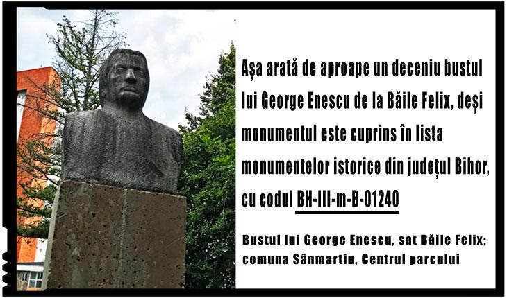 La 19 August se năștea George Enescu. Bustul marelui muzician român de la Băile Felix lăsat de aproape un deceniu în paragină și batjocură!