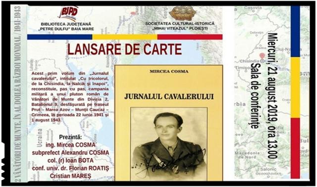 """Lansare de carte la Baia Mare pe 21 august: """"Jurnalul Cavalerului"""""""