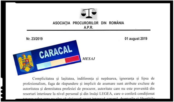 Asociația Procurorilor din România: Complicitatea şi laşitatea, indiferenţa şi nepăsarea, ignoranţa şi lipsa de profesionalism, fuga de răspundere şi implicit de asumare sunt atribute excluse de autoritatea şi demnitatea profesiei de procuror