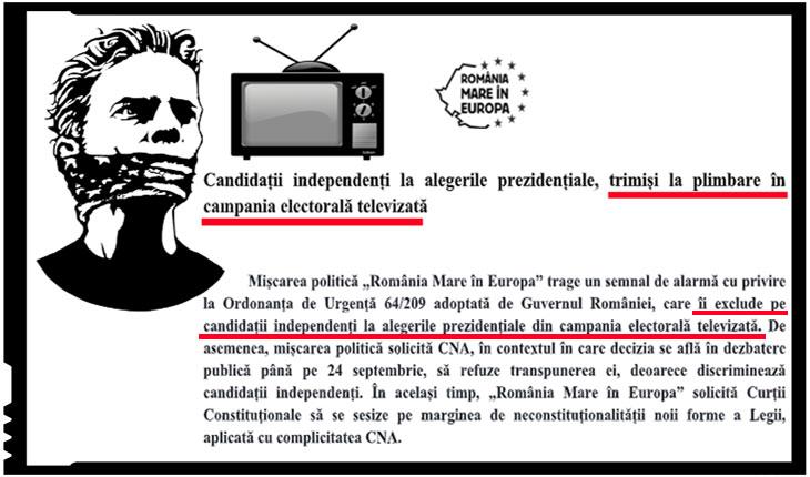 Semnal de alarmă: OUG 64/209 adoptată de Guvernul României îi exclude pe candidații independenți la alegerile prezidențiale din campania electorală televizată
