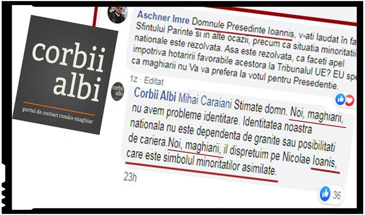 Discriminare între minoritari? Corbii Albi: Noi, maghiarii, îl disprețuim pe Iohannis, care este simbolul minorităților asimilate, Foto: Facebook / Corbii Albi