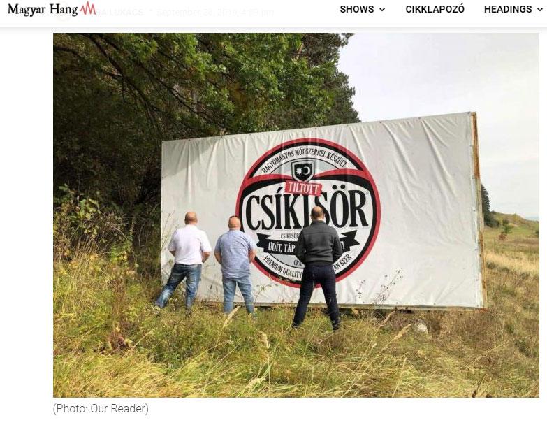 Secui returnând berea gratis pe bannerele de reclamă ale celor de la Csiki Sor, Foto: Magyar Hang