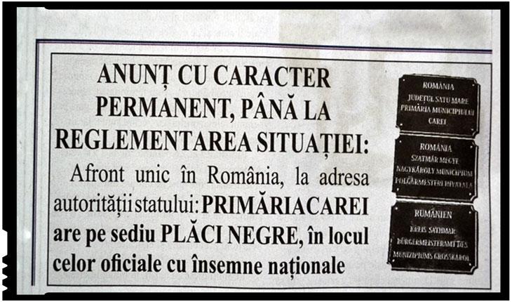 Un ziar ia atitudine față de dispariția statului român la Carei. Certitudinea menține un anunț cu caracter permanent..., Foto: Ziarul Certitudinea