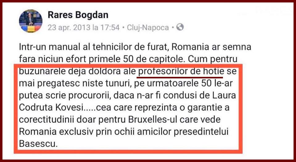 Rareș Bogdan Kovesi profesori de hoție