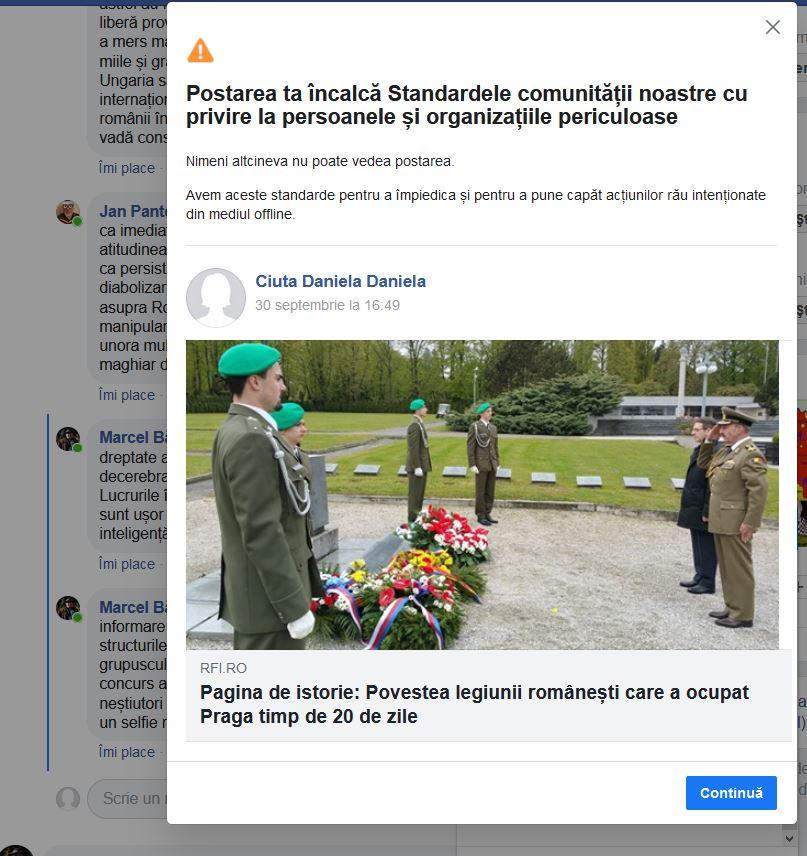 Postarea pentru care a fost șters contul de facebook al jurnalistei Daniela Ciută