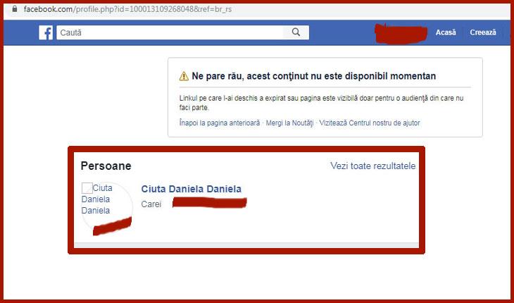 Contul de facebook dezactivat al doamnei Daniela Ciută