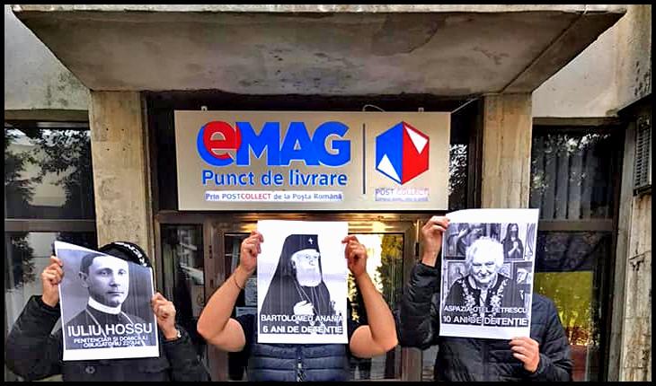 Protest împotriva clipului bolșevicului Șora în fața eMAG cu pozele victimelor terorii bolșevice în mâini, Foto: Facebook / Camarazii România