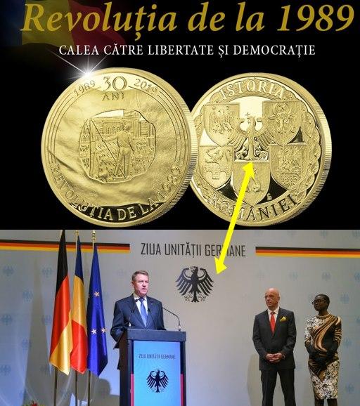 Stăpânii coloniei numită România și-au pus stema pe o monedă care sărbătorește lovitura de stat din 1989, Foto: Facebook /Teodor David