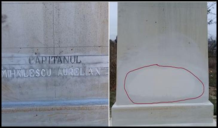 """Un deputat român reacționează cu privire la vandalizarea monumentului eroului român Aurelian Mihăilescu: """"Cer ministrului Afacerilor Externe o reacţie fermă"""", Foto: Facebook / Monumentele Basarabiei Furate"""