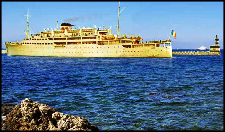 """Pachebotul Transilvania la Constanța în 1967, construit în 1938 de șantierul naval """"Burnmeister-Wain"""" din Copenhaga (Danemarca) împreună cu """"nava sa geamănă"""" Basarabia (confiscată de URSS în 1944 și rebotezată Ukraina)"""