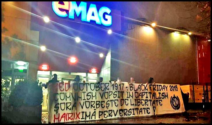 """Continuă protestele tineretului românesc împotriva eMAG și a promovării bolșevicului Șora: """"Ma(r)ximă perversitate!"""", Foto: Facebook /NOI"""