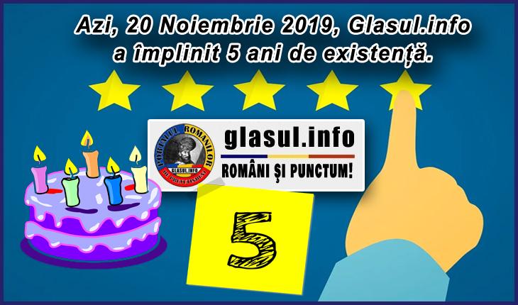 Astăzi, 20 Noiembrie 2019, Glasul.info împlinește fix 5 ani de existență și de activitate.