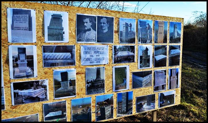 Monument ridicat în memoria preoților martiri Cornel Leucuța și Cornel Popescu din Șimand, pe locul unde au fost uciși de Garda Roșie Maghiară în Săptămâna Patimilor, Foto: Facebook / Iustin Popovici