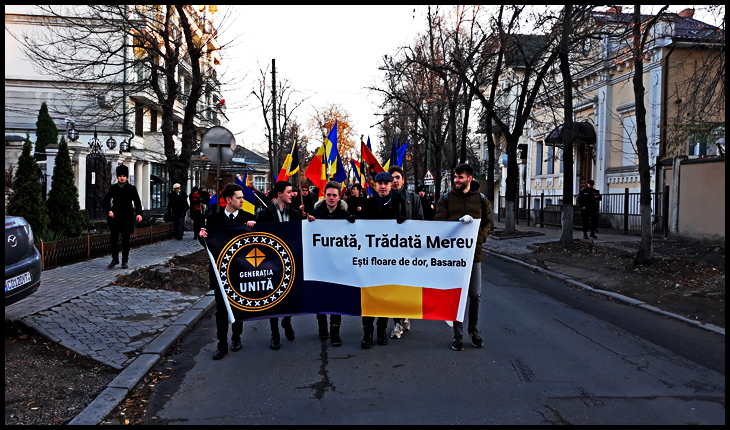 """Marș unionist la Chișinău de 1 Decembrie: """"Furată, Trădată Mereu, ești floare de dor Basarabie"""""""