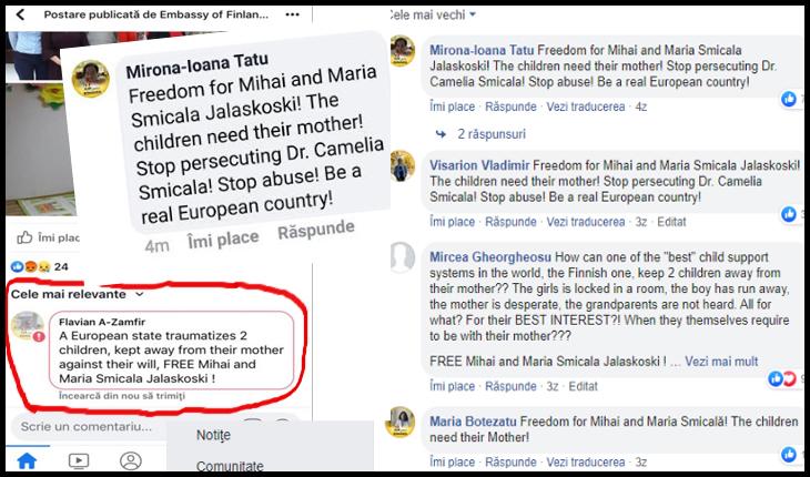 PROTEST al românilor pe pagina de facebook a Ambasadei Finlandei, pentru cazul Smicala