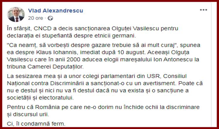Bucurie bolșevică din partea USR-istului Vlad Alexandrescu după sancționarea Olguței Vasilescu de către CNCD, Foto: captură facebook