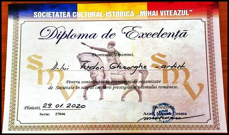 """Diplomă de excelență oferită lui Tudor Gheorghe de Societatea cultural-istorică """"Mihai Viteazul"""" din Ploiești"""