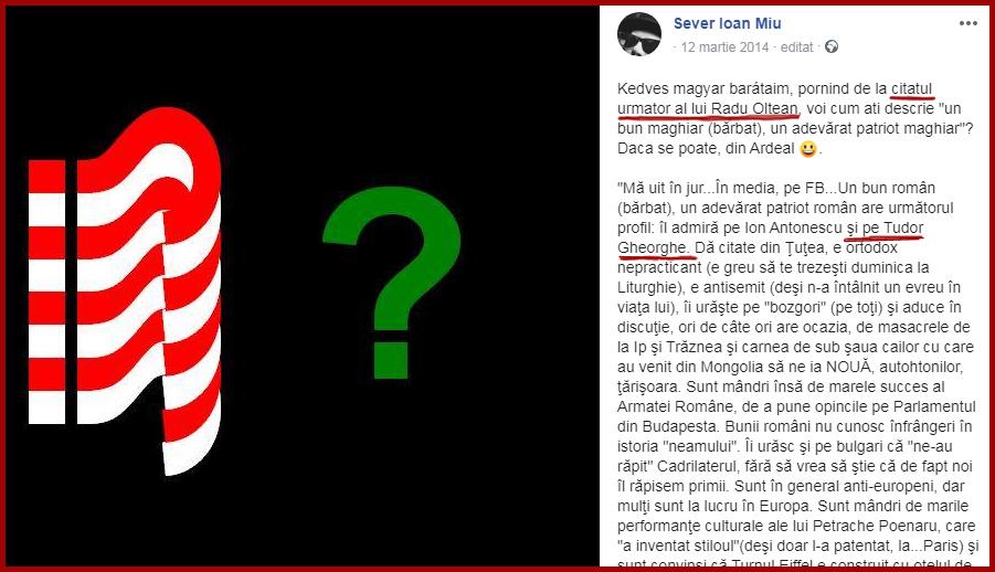 Radu Oltean citat de propaganda antiromânească, foto: captură Facebook