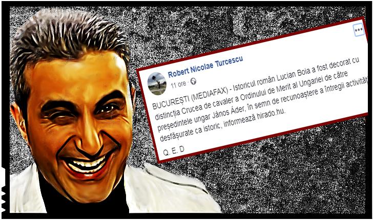 """Robert Turcescu ironic după ce Lucian Boia a fost decorat de unguri: """" Q. E. D."""""""