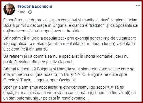 Teodor Baconschi în apărarea lui Lucian Boia