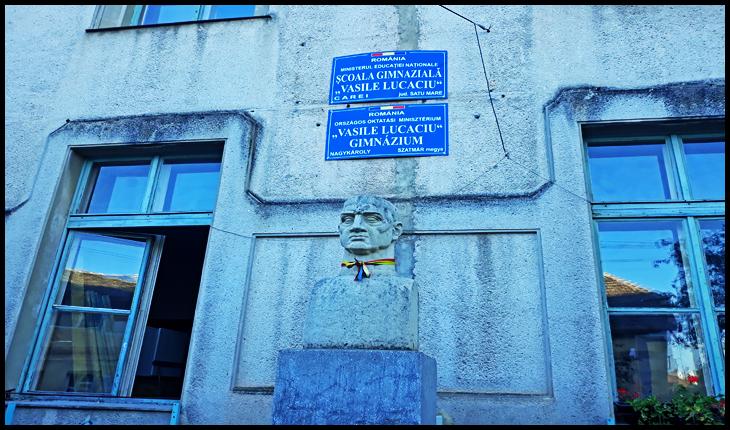 Bustul lui Vasile Lucaciu de la Carei, județul Satu Mare, 28 august 2019, Foto: Glasul.info