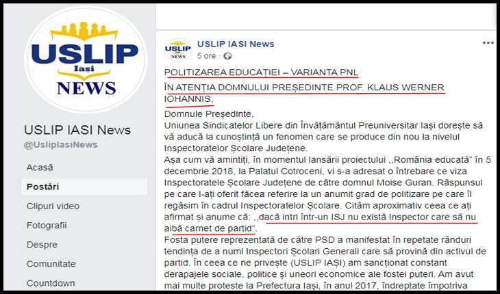 Paradox la IAȘI în învățământ: să te plângi tocmai lui Iohannis de hoția PNL-ului!?, Foto: captură Facebook / USLIP Iași