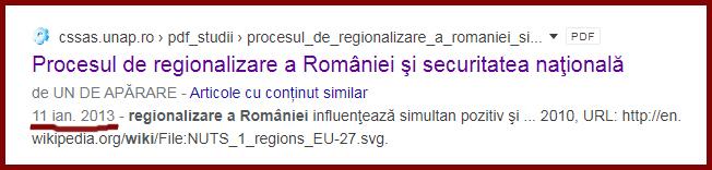 """Regionalizarea României, o lucrare a  UNIVERSITĂȚII NAŢIONALĂ DE APĂRARE """"CAROL I"""" Centrul de Studii Strategice de Apărare şi Securitate"""