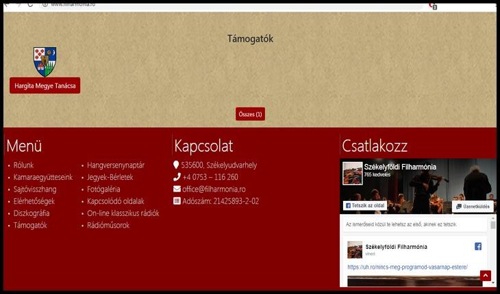 Revoltător! Site-ul Filarmonicii din Odorhei este numai în limba maghiară și prezentat ca fiind al Filarmonicii din ... Ținutul Secuiesc!?