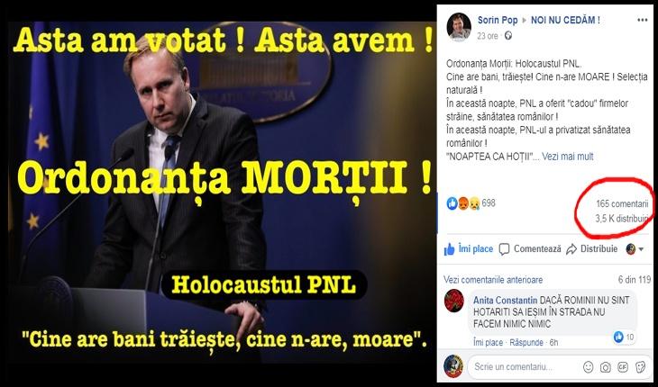 """Românii i-au dat un nume sinistru OUG a PNL pentru """"privatizarea"""" sănătății: """"Ordonanța MORȚII!"""", Foto: facebook.com/sorinpop.azs"""