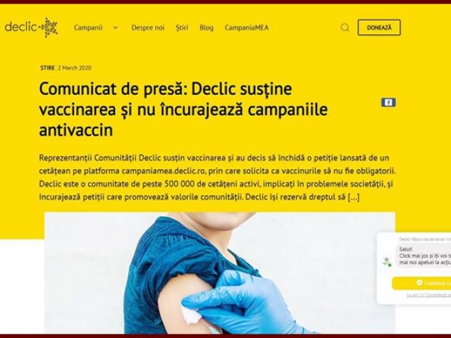 Sorosiștii de la Declic refuză libertatea de exprimare? Au anulat o petiție împotriva legii vaccinării obligatorii, Foto: captură foto declic.ro