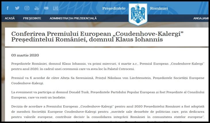 Planul Kalergi continuă în România! După Emil Constantinescu, și Iohannis primește premiul Kalergi, Foto: captură presidency.ro