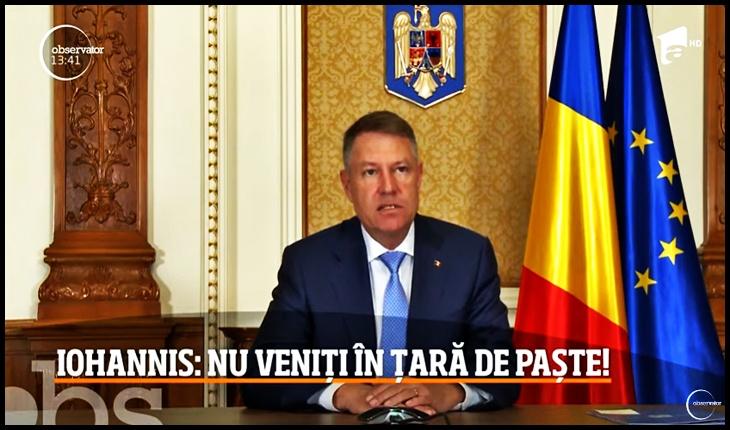Deși diaspora l-a făcut președinte, Iohannis le cere românilor să nu vină acasă de Paște, Foto: captură TV Antena 1