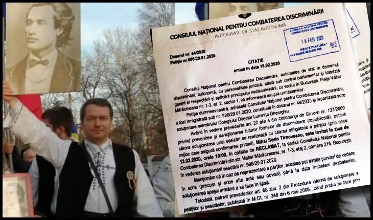 Mihai Tîrnoveanu: Libertatea de a fi Român NU poate îngrădită! Sunt din nou citat la CNCD!, Foto: Facebook / Mihai Tîrnoveanu