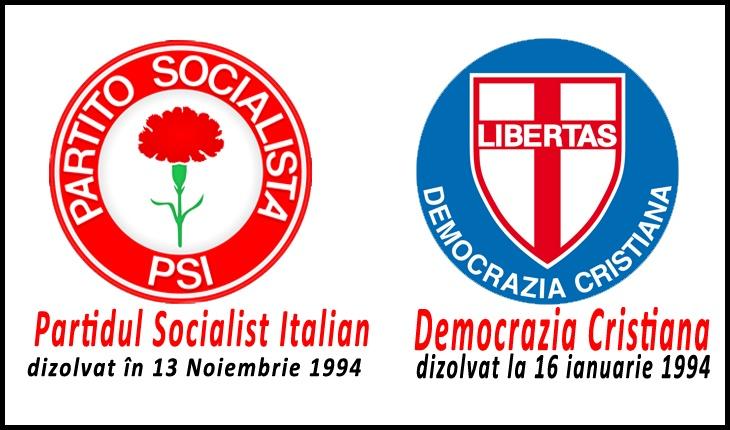"""Partidele italiene dizolvate în urma campaniei  """"Mani Pulite"""" din anii  '90 din Italia"""